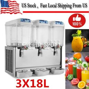 54l Commercial Juice Beverage Cold Refrigerated Drink Dispenser Machine 3 Tank
