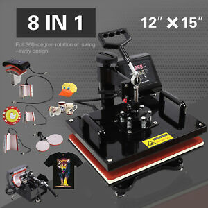12 X 15 Swing Away Heat Press Machine Transfer Sublimation T shirt Hat Plate