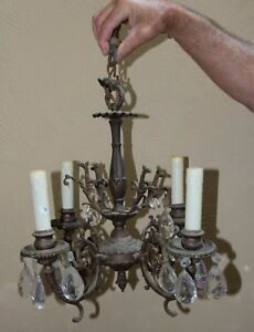 Antique Vintage Cast Metal 4 Light Hanging Lamp Light Chandelier