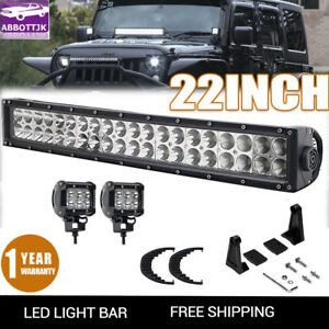 120w 22 Curved Led Light Bar Lower Hidden Bumper Grille Fit 2009 14 Ford F150
