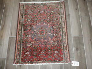 2x3ft Antique Farahan Sarouk Red Wool Rug