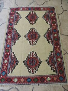 4x6ft Handmade Turkish Shirvan Kilim Wool Rug