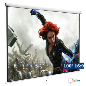 Kenwell Projection White Screen Manual Pull Down Projector Movie Matte