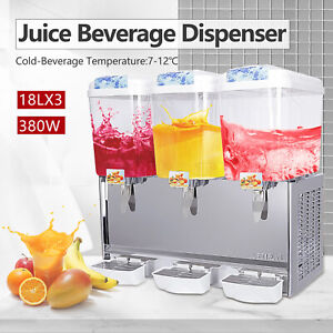 Kenwell 680w Commercial 3 Tank Juice Beverage Dispenser Cold Drink Jet Spray