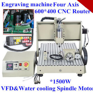 1500w Spindle 4axis 6040t Cnc Router Engraving Machine Wood Pcb Remote Control
