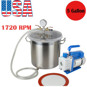 5 Gallon 3 Cfm Stainless Steel Vacuum Pump Degassing Chamber Kit 3cfm Pump Fda