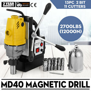 Md40 Magnetic Drill Press 13pc Cutter Set 1100w Switchable Electromagnetic