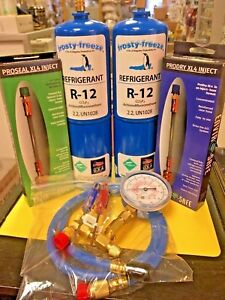 R 12 Refrigeration Virgin R12 2 Cans Gauge Hose Pro seal Xl4 Pro dry New