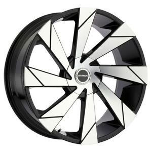 26 Inch Strada Moto Black M Wheels And Tires Fit 6 X 139 7 Escalade Tahoe