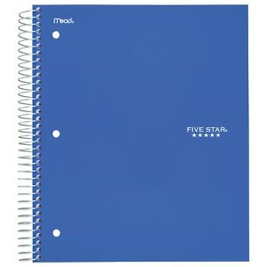Five Star 5 subject College Ruled Spiral Notebook 200 Sheets Assorted Pack Of 5