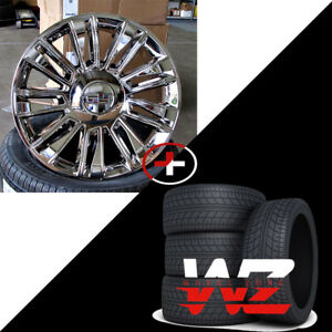 24 2018 Platinum Style Chrome Wheels With Tires Fits Cadillac Escalade Ext Esv