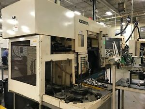 Okuma Lfs10 m2sp 2003 Dual Spindle Dual Turret Live Tools Automatic Stacker