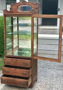 Antique 19th C Victorian Tiger Oak Medical Physicians Cabinet China Cabinet