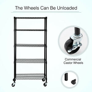 Kenwell 5 Tier Wire Shelving Unit Storage Rack Stainless Steel Adjustable Black