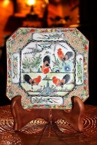 Old Chinese Export Porcelain Cantonese Famille Rose Rooster Cockerel Plate