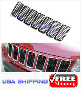Fits 2011 2016 Jeep Compass Black Abs Front Grille Insert Mesh Grid Cover Trim