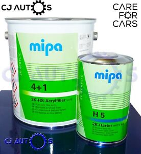 Mipa 4 1 5l Litre Kit 2k Hs Acryl Filler White High Quality Build Primer Car Van