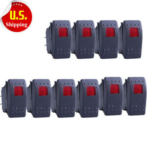 New 10 X Waterproof Marine Boat Car Rocker Switch Spst On off 4pin 4p Red Led