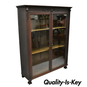 Victorian Oak Wood Glass Two Door Bookcase Claw Feet Lion Northwind Face