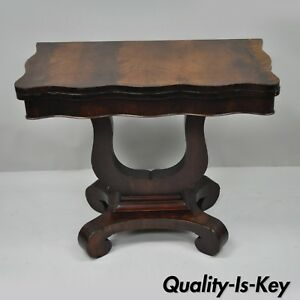 Antique American Empire Flame Crotch Mahogany Flip Top Console Hall Game Table