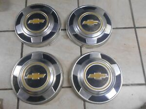 73 87 Chevy Dog Dish 10 1 2 Hubcaps C10 Pickup Truck 1 2 Ton 15 Wheel 5 Lug