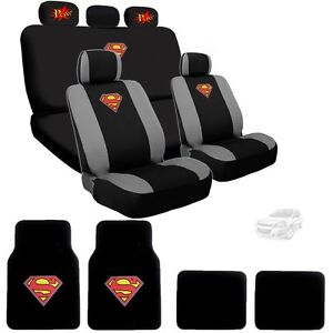 For Chevy Superman Ultimate Car Seat Covers Pow Logo Headrest Covers Mats Set