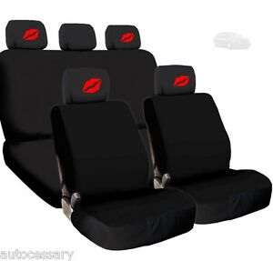 For Kia New 4x Red Lips Logo Headrest And Black Fabric Seat Covers