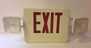 Emergency Lighting Power Exit Sign W Dual Head Flashing Lamps Cxteu2rw 120v