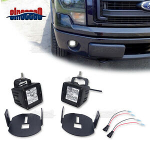 For Ford F150 F 150 Pair 24w Led Light Bar Fog Lamps Upgrade Mount Bracket Kit