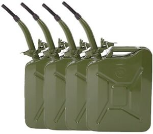 4pcs 5 Gallon Us 20l Jerry Can Gas Storage Tank Metal Can Army Green