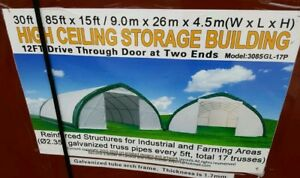 30x85x15 Canvas Fabric Tarp Storage Building Shelter Shop Metal Frame