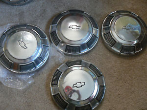 Chevy Chevrolet Dog Dish Proverty Hubcaps Fits 15 Wheels 1970 s 80 s