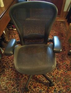 043 Herman Miller Aeron Office Chair Black With Black Base Adjustable Arms