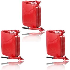 3pcs 5 Gallon Gas Can 20l Jerry Can Gasoline Gas Fuel Can Steel Metal Red