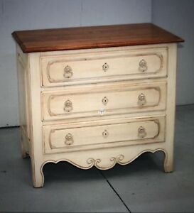 Ethan Allen Legacy French Country 2 Bedside Tables Brown Top Ivory Bottom