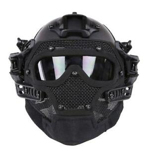 HYOUT Fast Tactical Helmet Combined with Full Mask and Goggles for Airsoft...
