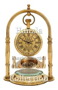 Nautical Polished Brass Desk Clock With Marine Compass Vintage Decor Collectible