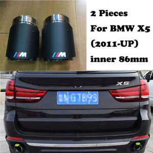 2xcarbon Fiber Exhaust Tips For Bmw X5 2011 17 M Colored Muffler Pipe Tailpipe