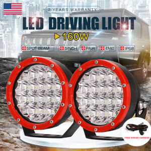 Pair 5inch 160w Cree Round Red Led Driving Lights Spot Work Offroad Jeep 4x4 Suv