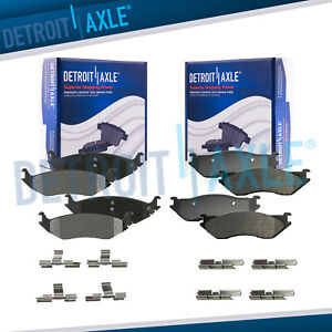 Front Rear Ceramic Brake Pads W clips For 2004 2005 Dodge Ram 1500 Durango