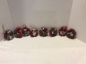 8 Vintage Mid Century Christmas Ornaments Wicker Wreaths With Vintage Accents