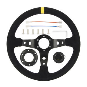 Universal Black Suede 350mm Deep Dish Racing Sport Steering Wheel Any Car Us