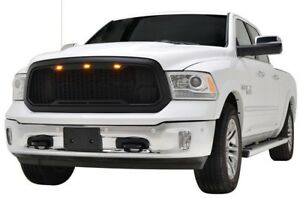 2013 2014 2015 2016 2017 2018 Dodge Ram 1500 Raptor Style Grille Matte Black Led
