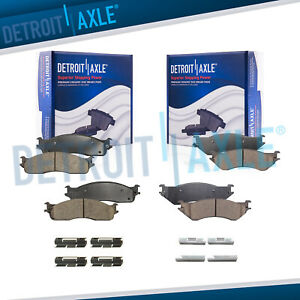 Front Rear Ceramic Brake Pads W Hardware For 2003 2008 Dodge Ram 2500 3500