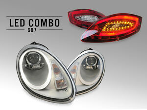 Silver Bi xenon Led Headlight Tail Lights For 05 08 Porsche 987 Boxster Cayman