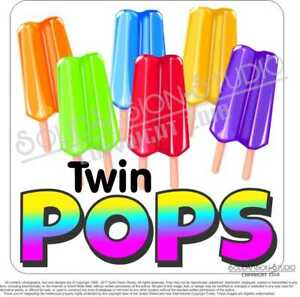 Ice Cream Twin Pops Concession Trailer Food Cart Truck Popsicle Sticker Decal