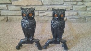 Antique Pair Of Cast Iron Black Owl Andirons Glass Eyes And Supports