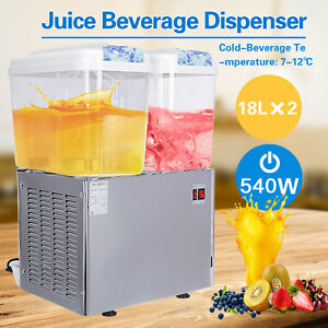 Kenwell Commercial 2 tank Juice Beverage Dispenser Cold Drink Fruit Ice Tea