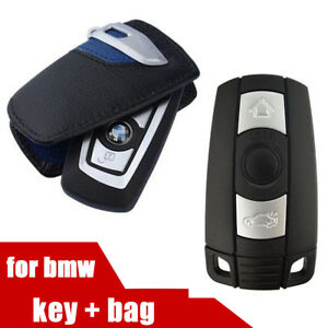 Black Leather Key Case W Smart Remote Control Car Key 3button Have Logo For Bmw