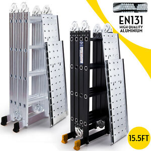 15 5ft Aluminum Multi Purpose Ladder Extension Folding Telescoping Telescopic